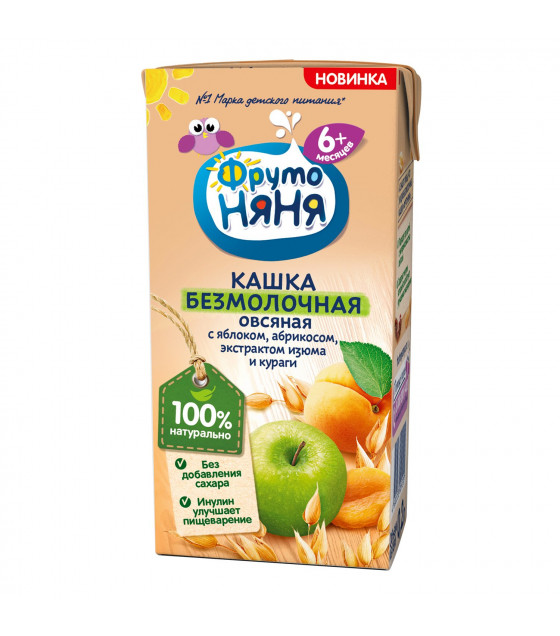 FRUTO-NANYA No Milk Porridge with oats, apple, apricot, raisin extract and dried apricot (from 6 months) - 200g (best before 13.03.22)