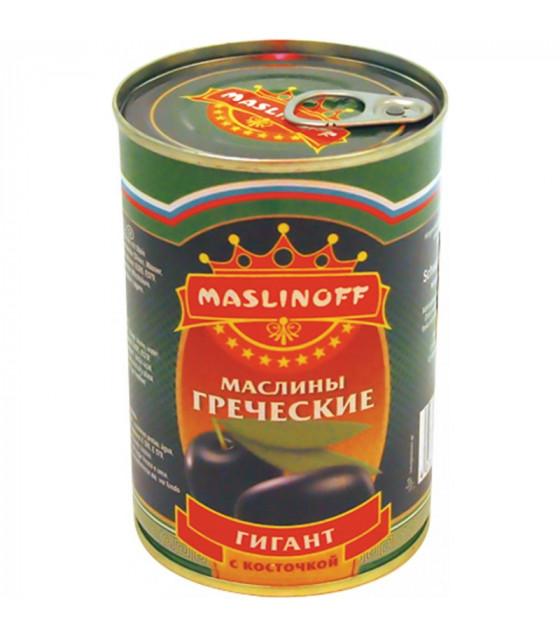 "MASLINOFF Pickled Blackened Greek Olives with Stone ""Gigant"" - 450g (best before 05.12.23)"