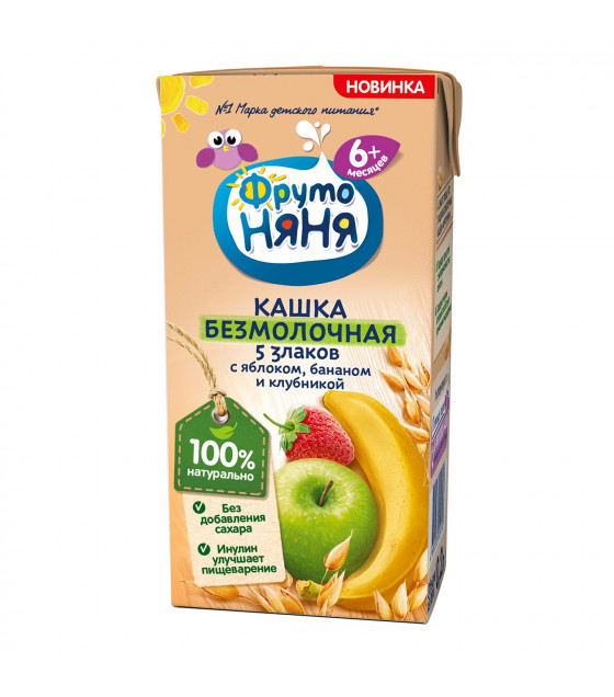 FRUTO-NANYA No Milk Porridge with apple, banana and strawberry (from 6 months) - 200g (best before 13.03.22)