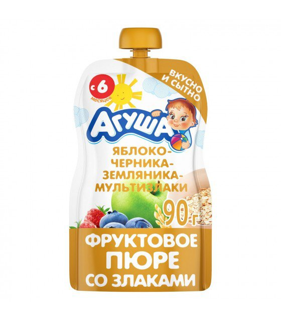 "Fruit puree ""Agusha"" apple-blueberry-strawberry-oatmeal (from 6-months) - 90g (exp. 11.04.20)"
