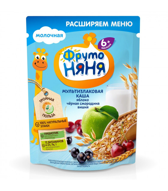 FRUTO-NANYA Milk Multi-Grain Porridge with Apple, Black Currant and Cherry (from 6 months) - 200g (best before 10.04.22)