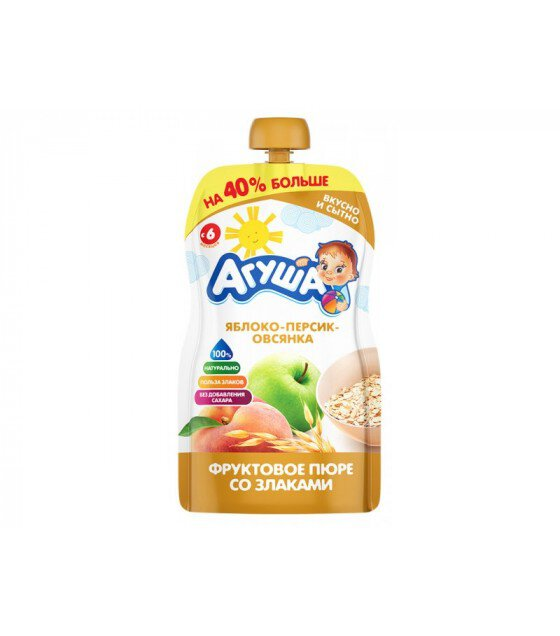 "Fruit puree ""Agusha"" Apple-Peach-Oatmeal (from 6-months) - 130g (exp. 26.03.20)"