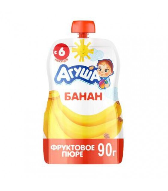 "Fruit puree ""Agusha"" Banana (from 6-months) - 90g (exp. 28.07.19)"