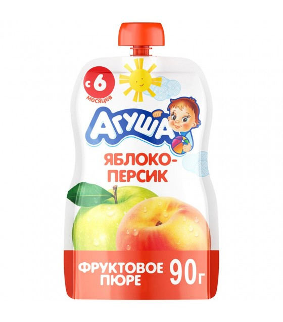 "Fruit puree ""Agusha"" apple-peach (from 6-months) - 90g (exp. 30.09.19)"