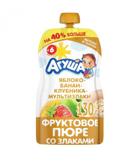 "Fruit puree ""Agusha"" Apple-Banana-Strawberry-Multigrain (from 6-months) - 130g (exp. 27.03.20)"