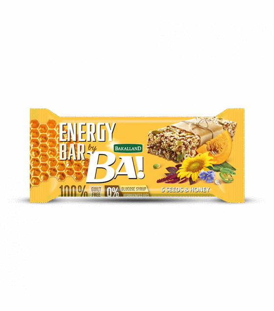 "Energy Cereal Bar ""Bakalland Ba!"" 5 Seeds & Honey - 40g (exp. 30.09.19)"