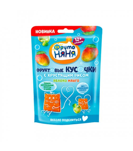 """FRUTO-NANYA Snack """"Fruit Bites"""" Apple-Mango with Crispy Rice (from 12 months) - 42g (best before 07.04.22)"""