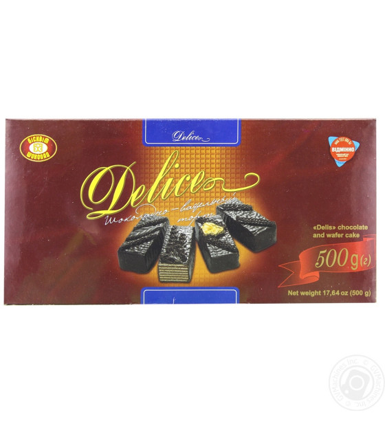 "BISCUITE-CHOCOLATE Waffle Cake ""Delice Premium"" with Chocolate Glazing - 500g (best before 25.07.21)"
