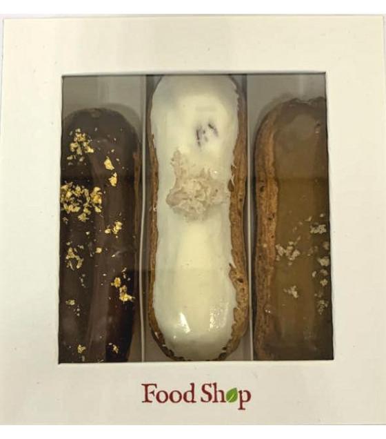 FOODSHOP Mix Eclairs Chocolate, Caramel and Vanilla (3pcs x60g)