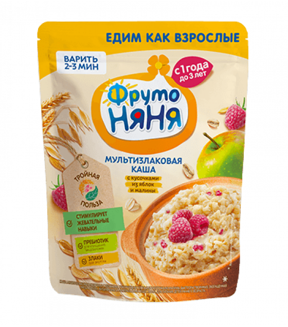 FRUTO-NANYA Multi-Grain Porridge with Apples and Raspberry Bites  (from 1 year) - 200g (best before 08.03.22)