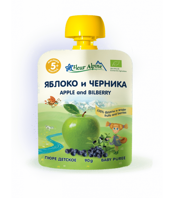 "Fleur Alpine - Organic Baby Puree ""Apple-Blueberry"", 5 months -90g (exp. 21.09.2019)"
