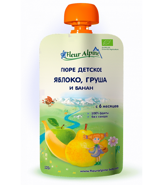 "Fleur Alpine - Organic Baby Puree ""Apple-Banana-Pear"", 6 months -120g (exp. 10.11.2019)"