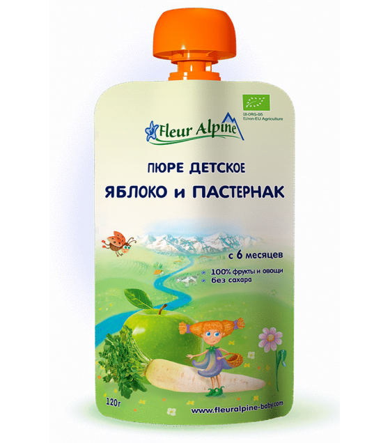 "Fleur Alpine - Organic Baby Puree ""Apple-Parsnip"" from 6 months - 120g (best before 04.11.21)"