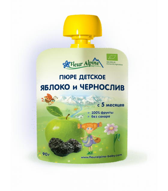 "Fleur Alpine - Organic Baby Puree ""Apple-Prune"" from 5 months - 90g (best before 24.11.21)"