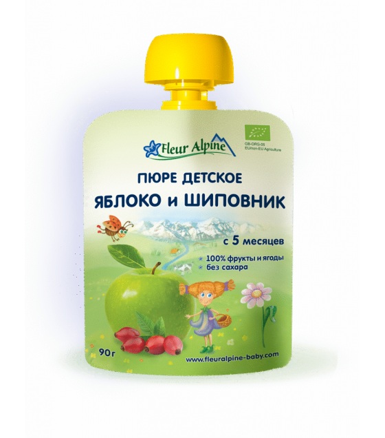 "Fleur Alpine - Organic Baby Puree ""Apple-Rosehip"" from 5 months -90g (best before 13.08.21)"