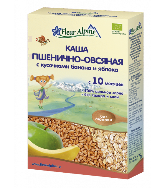 "Fleur Alpine - Organic Cereal ""Wheat-Oat with pieces of banana and apple"", 10 months -175g (exp. 29.07.20)"
