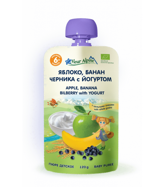 "Fleur Alpine - Organic Baby Puree ""Apple-Banana-Bilberry"" with yoghurt, 6 months -120g (exp. 11.12.19)"