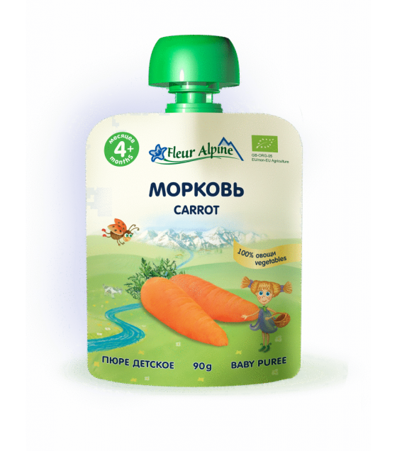 "Fleur Alpine - Organic Baby Puree ""Carrot"" from 4 months - 90g (best before 25.11.21)"