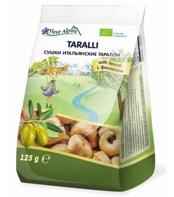 "Fleur Alpine - Italian Snack On Olive Oil ""Taralli"" with Fennel - 125g (exp. 20.05.2019)"