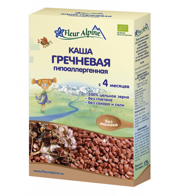 "Fleur Alpine - Organic Cereal ""Buckwheat Hypoallergenic"" from 4 months -175g (best before 10.02.22)"