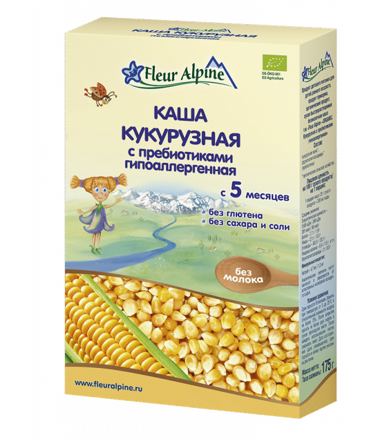 "Fleur Alpine - Organic Cereal ""Corn With Prebiotics Hypoallergenic"", from 5 months - 175g (exp. 10.06.20)"