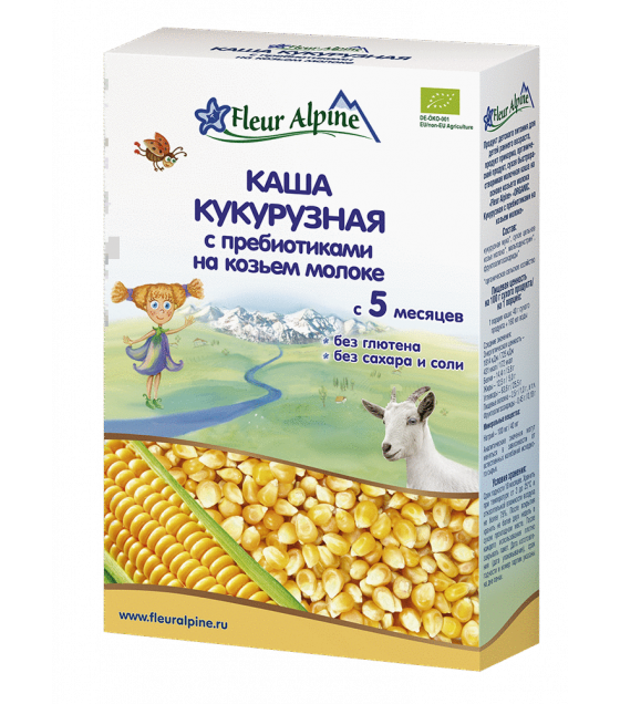 "Fleur Alpine - Organic Goat Milk Cereal ""Corn With Prebiotics"", 5 months -200g (exp. 02.02.2020)"