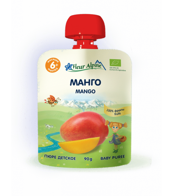 "Fleur Alpine - Organic Baby Puree ""Mango"" from 6 months - 90g (best before 25.11.21)"