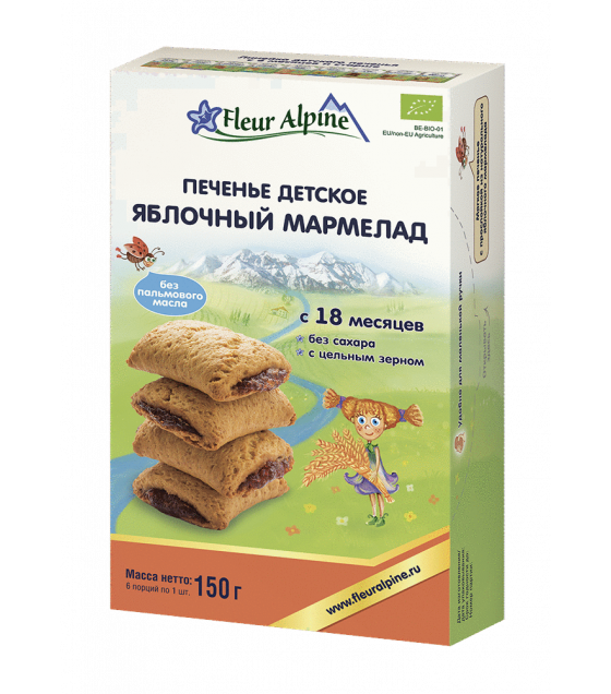 "Fleur Alpine - Organic Baby Biscuits ""Apple Marmalade"", from 18 months -150g (exp. 29.01.2020)"