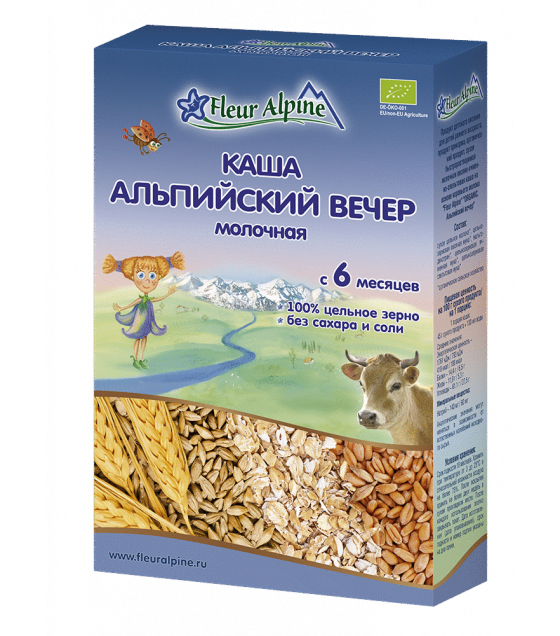 "Fleur Alpine - Organic Milk Cereal ""Alpine Evening"", 6 months -200g (exp. 22.07.20)"