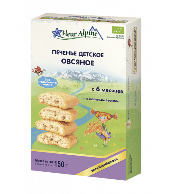 "Fleur Alpine - Organic Baby Biscuits ""Oatmeal"", from 6 months -150g (exp. 18.03.20)"
