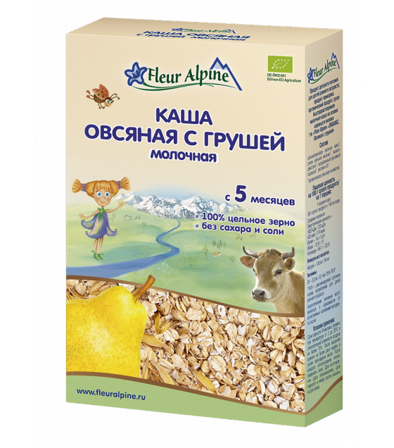 "Fleur Alpine - Organic Milk Cereal ""Oat With Pear"", 5 months -200g (exp. 20.02.2020)"