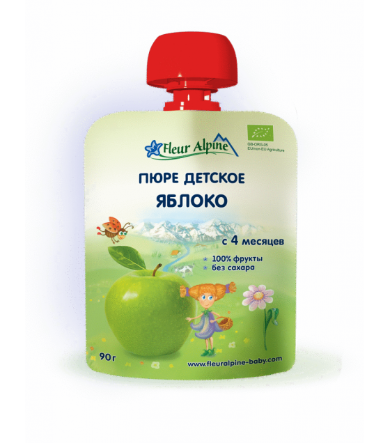 "Fleur Alpine - Organic Baby Puree ""Apple"", 4 months -90g (exp. 13.03.20)"