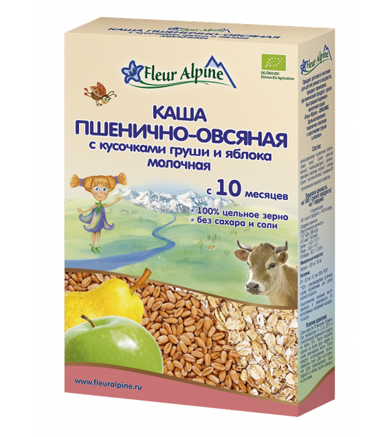 "Fleur Alpine - Organic Milk Cereal ""Wheat-oat with pieces of pear and apple"", 10 months - 200g (exp. 17.06.20)"