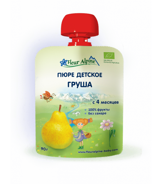 "Fleur Alpine - Organic Baby Puree ""Pear"" from 4 months - 90g (best before 25.11.21)"