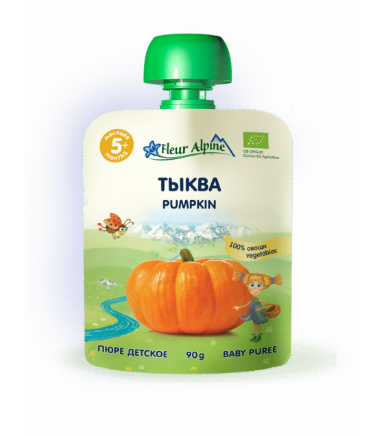 "Fleur Alpine - Organic Baby Puree ""Pumpkin"" from 5 months -90g (best before 25.11.21)"