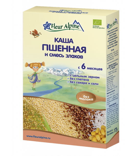 "Fleur Alpine - Organic Cereal ""Millet With Grain Mix"", 6 months -175g (exp. 11.06.20)"