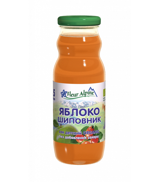 "Fleur Alpine - Organic Baby Juice ""Apple-Rosehip"", from 5 months -200g (exp. 14.12.20)"