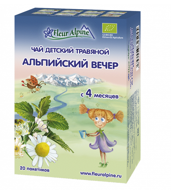 "Fleur Alpine - Baby Herbal Tea ""Alpine Evening"", from 4 months - 20g (exp. 28.05.2020)"