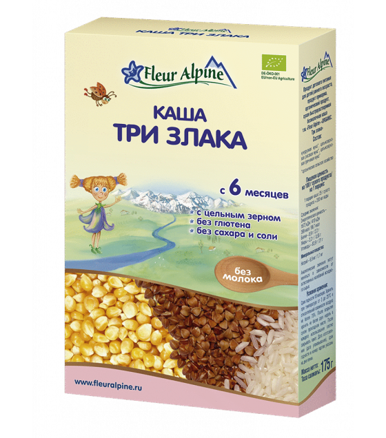 "Fleur Alpine - Organic Cereal ""Three grains"", 6 months -175g (exp. 11.06.20)"