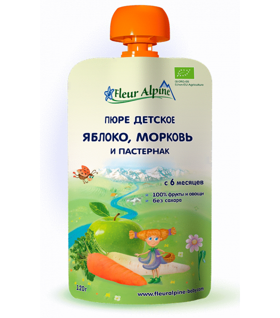 "Fleur Alpine - Organic Baby Puree ""Apple-Carrot-Parsnip"" from 6 months - 120g (best before 13.08.21)"