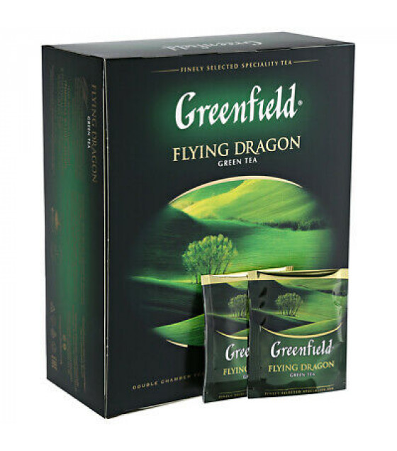 """GREENFIELD Green Tea """"Flying Dragon"""" (50x2g bags) - 200g (best before 30.10.23)"""
