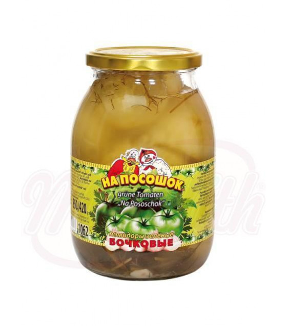 "NA POSOSHOK Pickled Green Tomatoes ""Bochkovye"" - 850g (best before 16.07.22)"