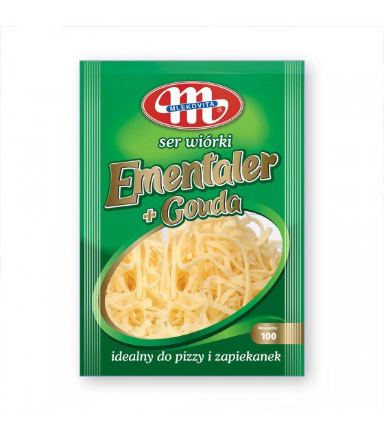 Mlekovita Premium Mix Emmentaler+Gouda cheese shredded - 100g (exp. 02.12.18)