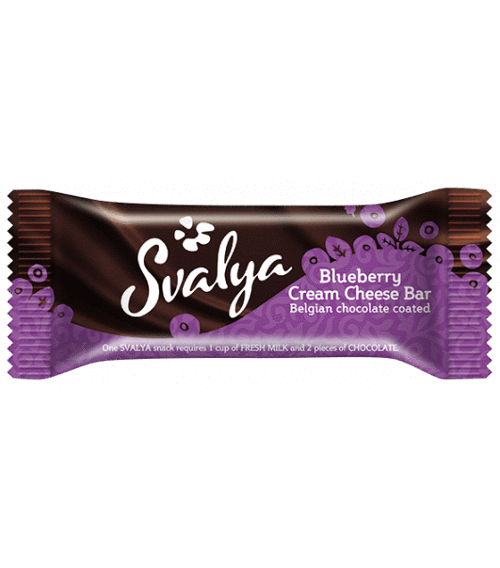 Cream cheese bar SVALIA with a real Belgian chocolate coating 45 g (BLUEBERRY) (exp. 02.06.19)