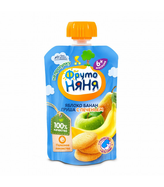 FRUTO-NANYA Puree Apple-Banana-Pear with Cookies (from 6 months) - 90g (best before 25.04.22)