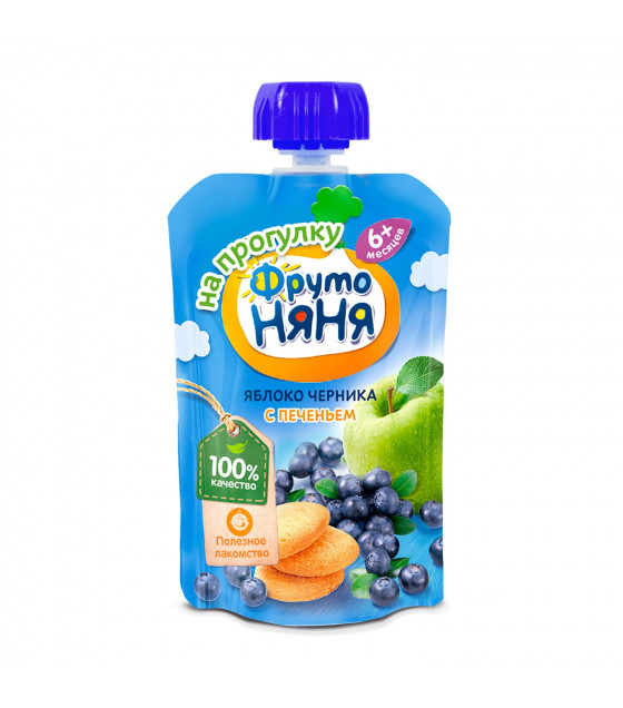 FRUTO-NANYA Puree Apple-Blueberry with Cookies (from 6 months) - 90g (best before 19.04.22)
