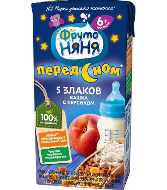 """FRUTO-NANYA Porridge 5 Grains with Peach """"Pered Snom"""" (from 6 months) - 200g (best before 16.10.21)"""