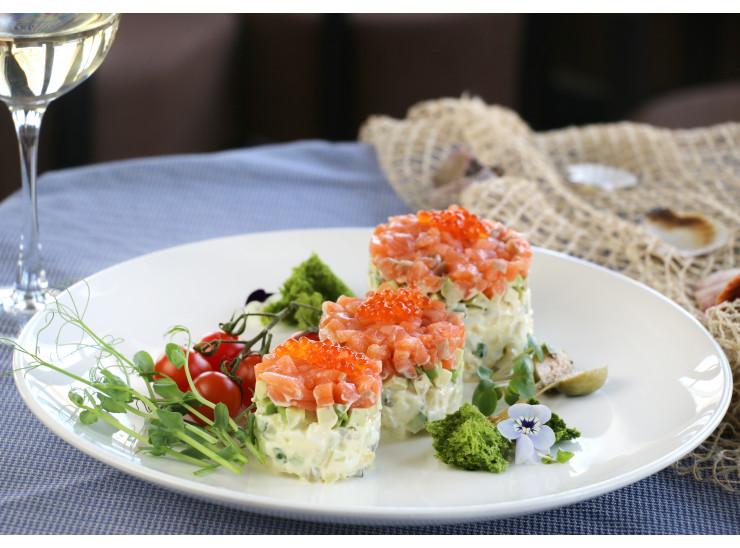 Salad Olivier with Salmon and Caviar
