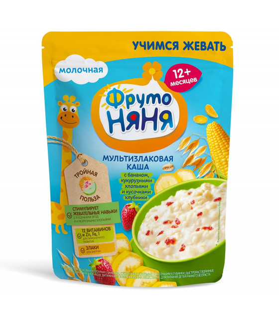 FRUTO-NANYA Milk Multi-Grain Porridge with Bananas, Corn Flakes and Strawberry Bites (from 12 months) - 200g (best before 14.04.22)