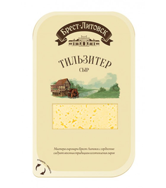 "SAVUSHKIN  Cheese semi-hard ""Brest-Litovsk Tilsiter"" 45% fat (sliced) - 150g (best before 11.07.21)"